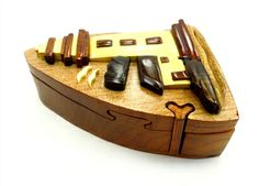 Amazing Gift, Hand-Carved Puzzle Box with red velvet inside. Dimensions: 4 1/2'' x 4 1/2'' x 2''