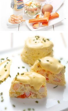 FLANES DE MARISCO CON SALSA FRANCESA Ingredientes para 4: - 4 huevos - 100 ml de leche - 100 gr de ensaladilla congelada - 3 o 4 palitos de surimi - 8 0 10 gambas cocidas - Pimienta - Sal -1 bote de Salsa francesa Ybarra ... Salsa Francesa, Spanish Food, Deli, Panna Cotta, Seafood, Appetizers, Pudding, Yummy Food, Fish