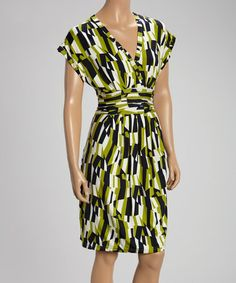 Green & Black Geometric Surplice Dress #zulily #zulilyfinds