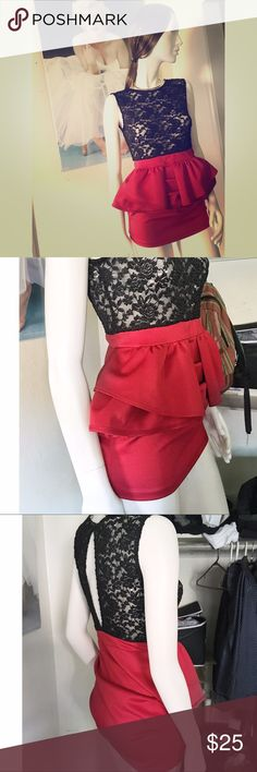 Black n red crew neck sleeveless peplum mini dress Sexy yes classy is the key here. Lace top with a glimpse of your back exposed. Red attached skirt flares up to give you that perfect slim hourglass shape. Perfect for dinner or a night out with the girls. Dresses Backless