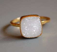 Natural White Druzy Ring  Cushion Square Cut  Stacking by OhKuol, $65.00 I WANT THIS FOR MY BDAY!