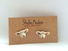Lamb stud earrings, animal jewellery, silver plated stud earrings by ShellaMakes on Etsy