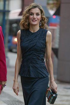 Queen Letizia - Ruched navy sleeveless top and matching skirt by Nina Ricci - Uterqüe box-bag - Mango earrings