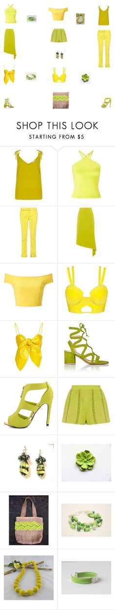 """Capsule wardrobe Lemon and Lime"" by einder ❤ liked on Polyvore featuring River Island, Miss Selfridge, Roberto Cavalli, Warehouse, Leal Daccarett, Gianvito Rossi, Qupid and Giallo"