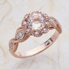 14K Vintage Rose Gold Engagement Ring Center Is A Round Morganite