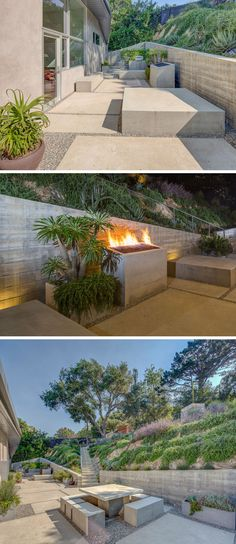 This modern house has a landscaped patio with various concrete blocks that create a variety of sitting options, and an outdoor fireplace. #ModernLandscaping #OutdoorFireplace
