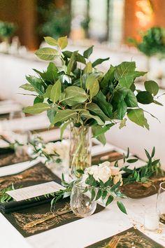 Green, black and gold table decor ideas @weddingchicks