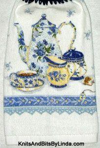 blue floral teapot kitchen hand towel
