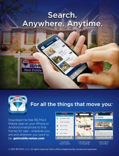 Do you like to be up to date with your home search? With the RE/MAX app, you can perform a property search based on current location or by using specific search criteria, such as location, number of bedrooms, price, etc. To see Article go to our website
