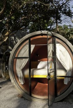 Tubo Hotel in Mexico, made of concrete industrial tubes.     interesting, but i have no desire to sleep in a sewer pipe, used or not...
