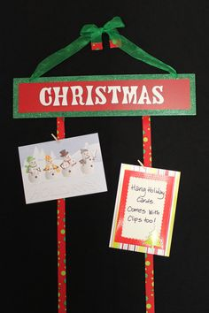 Easy Christmas card holder with ribbon