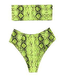 1418e32128 OMKAGI #Women 2 Pieces Bandeau #Bikini #Swimsuit Off Shoulder High Waist  Bathing Suit High Cut(XL,Snakeprint-GR)