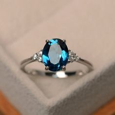London blue topaz ring oval blue gemstone ring engagement