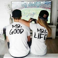Couple Shirt Summer 2016 Fashion Mr Mrs Good Life Graphic Tees Casual Short Sleeve Men And Women T-Shirt Couple Clothes T-shirt Couple, Couple Tees, Couple Tshirts, Couple Goals, Couple Clothes, Couple Style, Cute Couple Outfits, Couples Assortis, Funny Couples