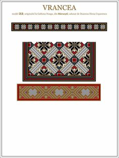 Semne Cusute: ie din MOLDOVA, Vrancea - Barsesti Beading Patterns, Embroidery Patterns, Stitch Patterns, Moldova, Hama Beads, Traditional Outfits, Pixel Art, Folk Art, Cross Stitch