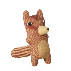 Chuck loves doughnuts and is scared of balloons. Knitted chipmunk, made from 100% lambswool with polyester stuffing. Suitable for ages 3+. Dry clean only.