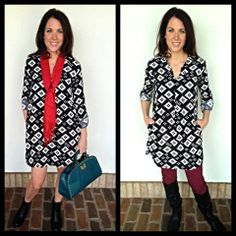Love this black and white pocketed tunic top or dress... Did I mention its pocketed??? It's also a great black and white print that you can accessorize it with any color!! $62