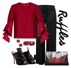 """""""Ellery Neu Ruffle Sleeve Top Look"""" by romaboots-1 ❤ liked on Polyvore featuring N°21, Helmut Lang, Vieste Rosa and E L L E R Y"""