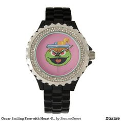 Oscar Smiling Face with Heart-Shaped Eyes Wrist Watch Mobile Icon, Presents For Kids, Disney Quotes, Smile Face, Black Enamel, Cool Gifts, Michael Kors Watch, Heart Shapes, Quartz