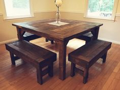**PLEASE READ SHIPPING POLICY** Beautiful, rustic, farmhouse-style table made from solid wood that is hand selected and skillfully cut and sanded. Each table is stained with your choice of stain and is sealed with a non-toxic tung oil finish for quality Farmhouse Style Table, Farmhouse Kitchen Tables, Rustic Table, Farmhouse Furniture, Rustic Furniture, Rustic Farmhouse, Tall Kitchen Table, Farm Style Table, Diy Farmhouse Table