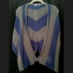 Roxy Cardigan Gray and Blue stylish knitted Roxy Cardigan with an upside-down V back. Perfect for those chilly winter nights! Roxy Sweaters Cardigans