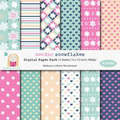 SALE Snowflake Digital Scrapbook Paper Pack by DreamingOnAStar $5.00