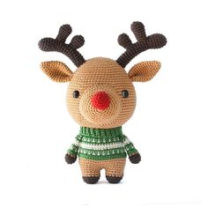 Rudolph the reindeer, a cute DIY Fluffies amigurumi crochet pattern for christmas! www.mariskavos.nl