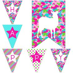 Girls Camo Birthday Party Decorations Digital Printable Package