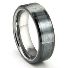 Tungsten Carbide Grey Meteorite Inlay Wedding Band Ring for the groom
