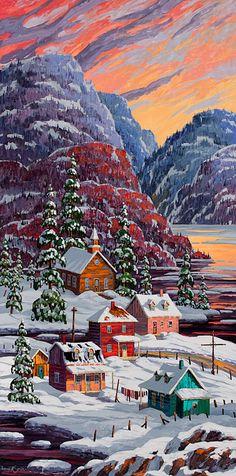 Vladimir Horik Un hameau québécois Double Exposition, Canadian Painters, Canadian Artists, Polymer Clay Painting, Snow Scenes, Naive Art, Artist Painting, Illustrations, Painting Inspiration