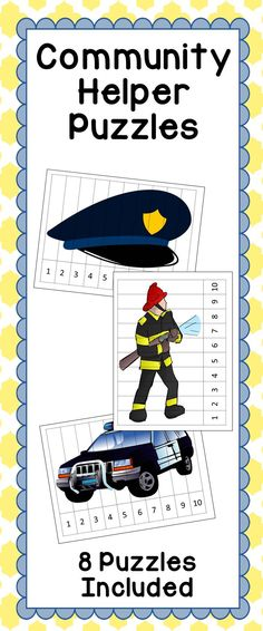 Number puzzles are a great way for students to use their creative minds to piece together a puzzle while also practicing their counting and number sequencing by making sure the numbers at the bottom of the artwork are in order. These number puzzles have community helper cartoons (fire truck, police badge, nurse, etc). Great for a math center or station in your kindergarten class. Just print, laminate, and cut into strips for students to use.