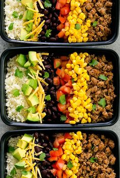 Skinny turkey taco bowls are served with cauliflower rice for a healthy, low carb and flavorful meal that can be prepped ahead of time for your weekly meal prep.