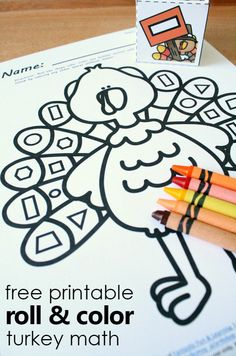Free Printable Roll and Color Thanksgiving Turkey Shape Matching Activity. Fun Math Games for Preschool and Kindergarten!