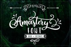 FREE Amastery Font Duo | a script font with lots of alternative glyphs plus a complementary font and lots of cliparts in font format as well as EPS, PNG and SVG.
