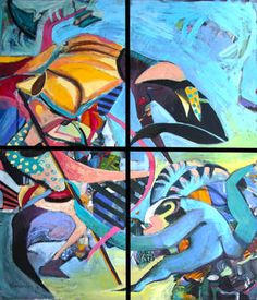 """Saatchi Art Artist Karolina Franceschini; Painting, """"She's watching""""   oil on canvas   Artist note: """"Inspired by Mongolian painting on paper from the seventeenth century depicting the siege Lanka. It is painted on four separate panels, 50 x 60 cm each."""""""