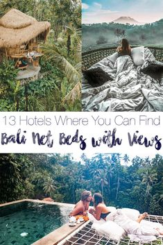 13 different properties where you can find the famous Bali net beds! These bamboo houses, villas, and treehouses have views of the jungle, rainforest, rice paddies, or ocean and comfortable hammock beds to go with them. Travel Plan, Travel Goals, Travel Tips, Travel Destinations, Beautiful Hotels, Beautiful Places To Visit, Japanese Travel, Gili Island, Backpacking Asia