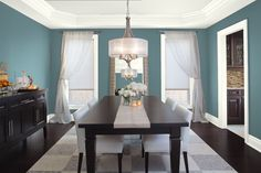 Potential whole house neutral shale is on this ceiling Blue Dining Room Ideas - Glamorous Gray-Blue Dining Room - Paint Color Schemes Benjamin Moore Normandy paint color Blue Dining Room Paint, Dining Room Colors, Dining Room Walls, Living Room Paint, Dining Room Design, Dinning Room Paint Ideas, Dark Grey Dining Room, Bedroom Colors, Room Color Schemes