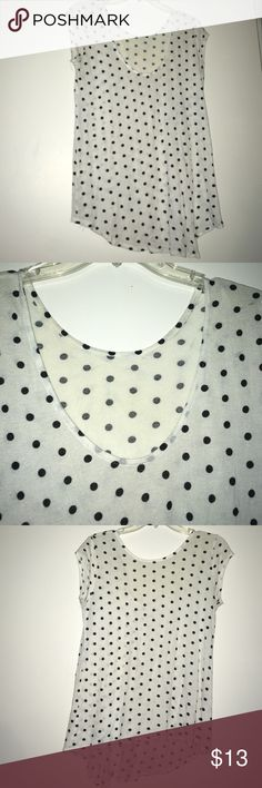 Polkadot Scoop Neck Sheer white blouse with black polkadots. H&M Tops Blouses