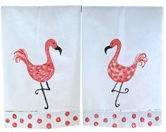 Hand Painted Flamingo Tropical Guest Towel Set by LemondaisyDesign, $25.00
