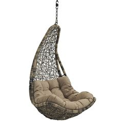 Modway Abate Wicker Rattan Outdoor Patio with Hanging Steel Chain, Swing Chair Without Stand, Mocha Hanging Swing Chair, Hammock Swing Chair, Swinging Chair, Swing Chairs, High Chairs, Modern Hanging Chairs, Patio Chairs, Lounge Chairs, Outdoor Chairs