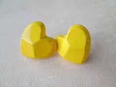 One Pair of Yellow Heart Earrings  Vintage by VintageBirds7, $7.00