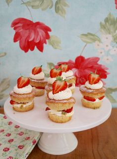 Wimbledon Cupcakes - vanilla sponge cupcakes filled with whipped cream, passionfruit and strawberries.