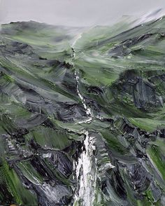 Conrad Jon Godly - Spes. I enjoy the textural differences between the heavy paint strokes of the rocks and the mist.