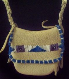 Native American Style Beaded Amulet Neck Pouch or  by misstudy