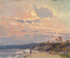 "Scott Christensen, Crimson Skies, Oil on canvas, 10"" x 12"""
