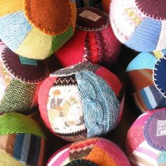 Diy playtime balls- Another great idea for those odds and ends from the recycled sweater yarn production