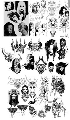 random old doodles by DavidSequeira on DeviantArt Tattoo Flash Sheet, Tattoo Flash Art, Tattoo Sketches, Tattoo Drawings, Traditional Tattoo Painting, Satanic Tattoos, Gothic Drawings, Japan Graphic Design, Catrina Tattoo