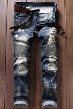 $29.92 Ruched Design Destroy Washed Moto Jeans - Blue