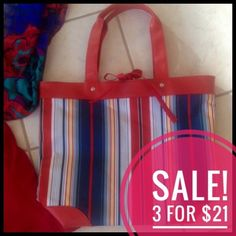 "♦️3/$21❗️Red white blue stripe canvas tote Red, blue & white striped canvas type tote. Tie closure. 15 1/2"" wide. Used a couple times, excellent condition. Lancome Bags Totes"