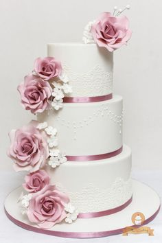 Old Rose Floral Wedding Cake - Cake by The Sweetery - by Diana Old Rose Wedding Motif, Wedding Motifs, Wedding Cake Roses, Dusty Rose Wedding, Beautiful Wedding Cakes, Floral Wedding, Dream Wedding, Debut Cake, Fondant